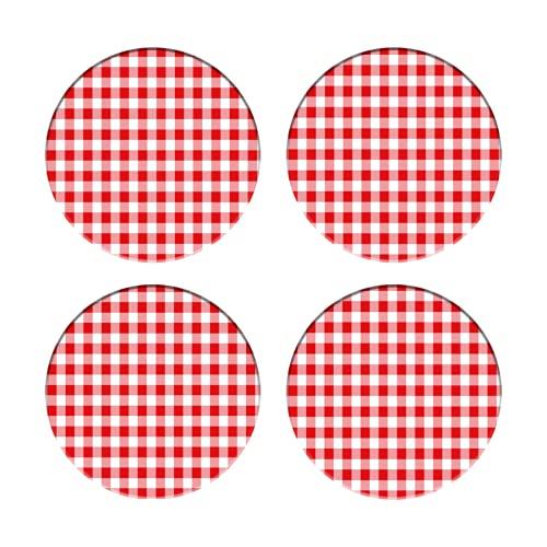 Posavasos para Bebidas,Impresión a Cuadros Cuadros Rojos y Blancos ,Manteles Individuales Redondos Reutilizables para la decoración de la Barra de Cocina