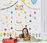 TOTOMO #W140 Happy Birthday Wall Decals Removable Wall Decor Decorative Painting Supplies & Wall Treatments Stickers for Girls Kids Living Room Bedroom