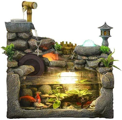 XXSHN Equipo de Vida Fuentes de Interior Adorno LED Fuente de Interior Simulación Resina Rocalla Cascada Estatua Escritorio Feng Shui Fuente Meditación Decoración de jardín