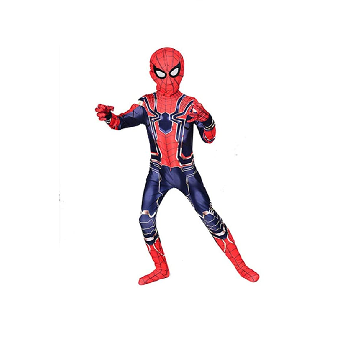 QXMEI Iron Spiderman Costume Children Siamese Tights Halloween Anime Character Performance Costume,Blue-110~120CM