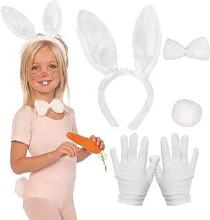 MMTX Kaninchen Kostüm Set, 5 STÜCKE Bunny Rabbit Ears Stirnband Fliegen Krawatte Schwanz Handschuhe für Kinder Erwachsene ...