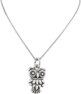 Sterling Silver Owl Necklace (18