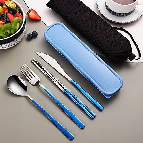 CML Juego de vajilla reutilizable de 4 piezas, de acero inoxidable, ecológico, cuchillo, cuchillos, palillos, viaje, cubiertos de metal, portátil, color rojo