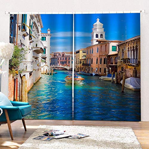 LLPZ Water city Venice printed curtains, shade and moisture-proof curtains, bedroom and living room curtains 2×W140cm×L175cm