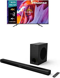 Hisense 50-Inch Class H8 Quantum Series Android 4K ULED Smart TV with Voice Remote + 2.1 Channel Sound Bar Home Theater System with Wireless Subwoofer and Bluetooth (Model HS218)