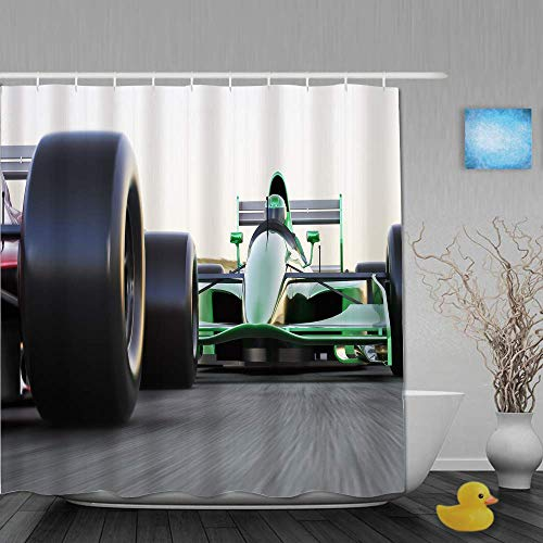 doormatscool Polyester Fabric Shower Curtain Set with 12 Plastic Hooks Decorative Bath Curtains,Motorized Sports Theme Indy Cars On Asphalt Road with Motion Blur Formula Race,72x72 Inches 65X72IN