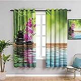 Decoración de spa para habitación oscura cortina orquídea flor piedra cultura oriental espiritualidad bienestar tropical vacaciones 2 paneles Sets W72 x L72 pulgadas