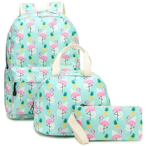 Mochila infantil – Piña Flamingo 3D Impreso Bolsa Escolar Conjunto Lindo Mochila Niños y Fiambrera Insulted Pen Case Multifunción 3 en 1