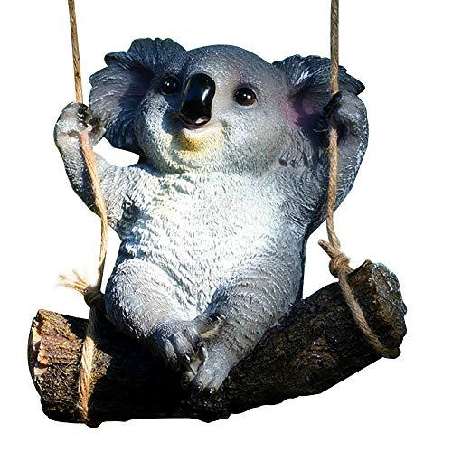 BGY Home Ornamento Estatua de Jardín Animales Props Paisaje Dibujos Animados Estatua Linda Decoración de Oficina Accesorios Resina Artesanía Swing Koala House