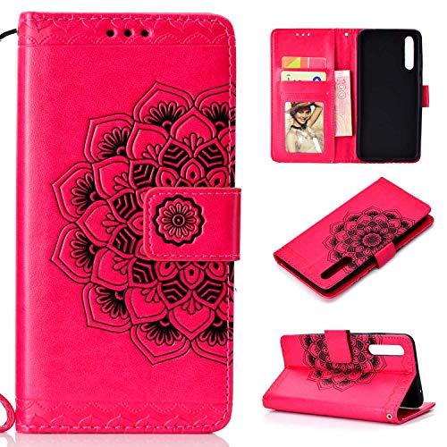 Braovday Coque Huawei P20 Pro, Etui Huawei P20 Pro, Housse en Cuir Premium Flip Case Portefeuille Etui Coque avec [Fermeture Magnétique] pour Huawei P20 Pro, Rouge