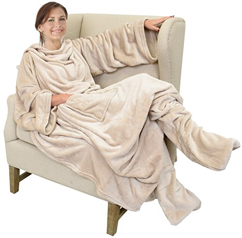 """Catalonia Wearable Fleece Blanket with Sleeves & Foot Pockets for Adult Women Men, Micro Plush Wrap Sleeved Throw Blanket Robe Large 75"""" x 53"""""""