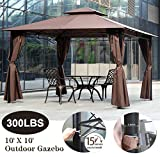 XXFBag 10' X 10' Gazebo Canopy Tent Outdoor Gazebo for Patios with Sidewall and Fabric,Large Party Tent,Metal Frame Waterproof Wedding Tent,UV Block Sun Shade for Garden Backyard Lawns Deck,Brown