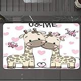 Alfombrilla de Baño Antideslizantes de 50X80 cm,Animal, lindo jirafas bebé en amor puro con , Tapete para el Piso Lavable a Máquina con Microfibras Suaves Absorbentes de Agua para Bañera, Ducha y Baño