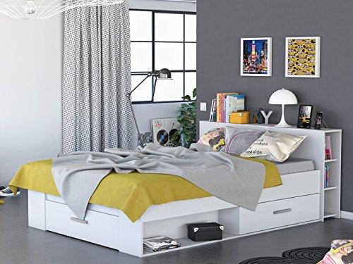 "Kompaktbett Einzelbett Jugendbett Doppelbett Bett Funktionsbett ""Scalea I"" Perle-Weiß"