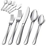 65-Piece Silverware Set with Serving Utensil, E-far Stainless Steel Modern Flatware Cutlery Set Service for...
