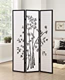 Roundhill Furniture 3-Panel Oriental Shoji Room Divider Screen, Black