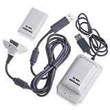 Dcolor 5 en 1 USB 4800mAh Batterie & Chargeur Cable Kit pour Xbox-360 blanc