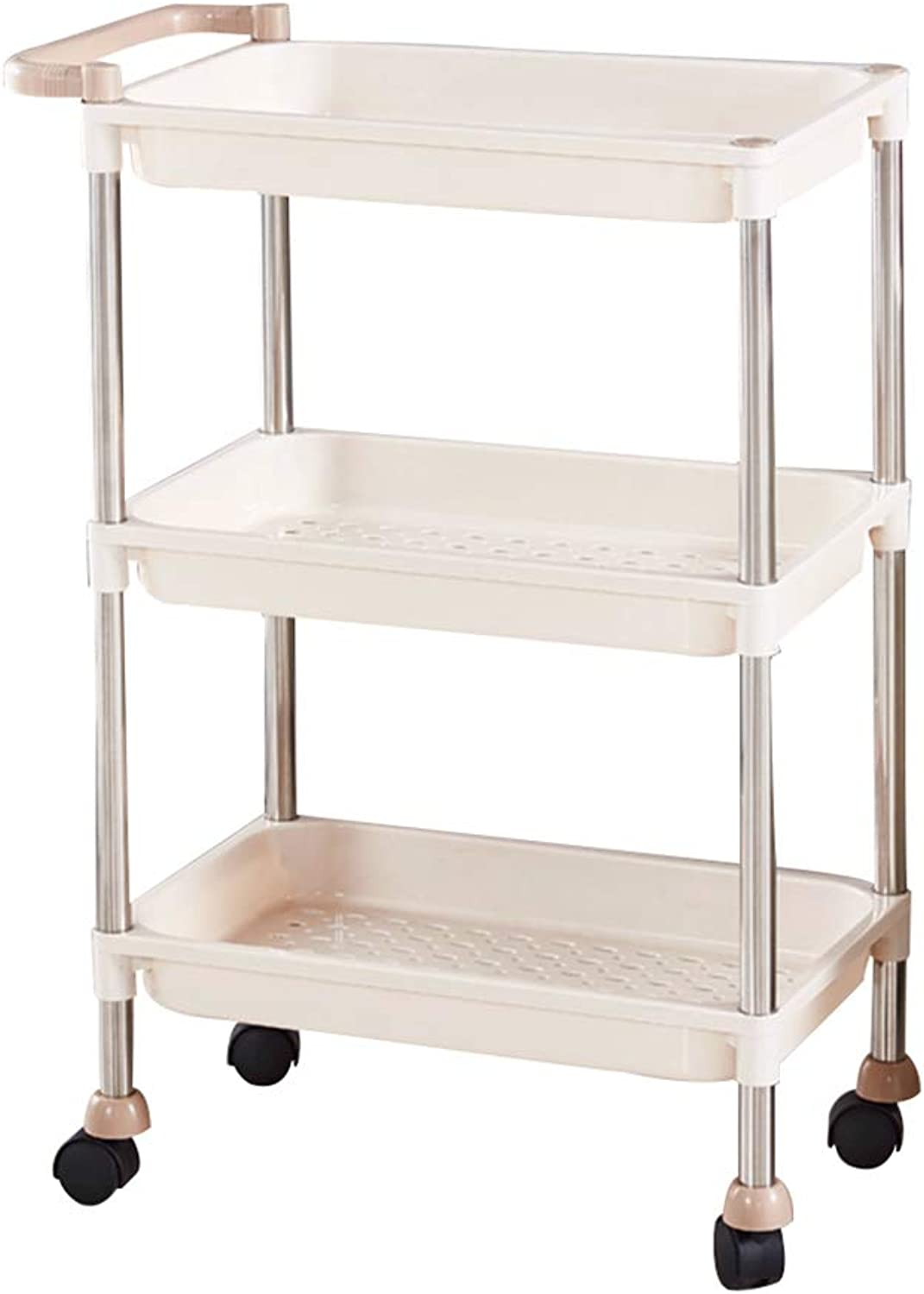 Serving Trolley Cart Movable Kitchen 3 Tier Stainless Steel Environmental Predection PP with Guardrail Square Plastic Wheel, Carrying Capacity 30 Kg, 4 colors (color   A, Size   46 x 28 x 73 cm)