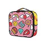 LUPINZ Kosmetiktasche Emoji, Pink, Pop-Art, Stitch Patch Muster Clutch Make-up-Tasche Reisetasche Kulturbeutel