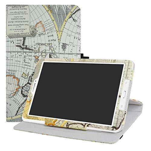 LFDZ Galaxy Tab E 9.6 Rotante Custodia, Slim Girevole Smart 360 Gradi di Rotazione Case Cover Custodia Protettiva per Samsung Galaxy Tab E 9.6' SM-T560 SM-T561 Tablet,Map White