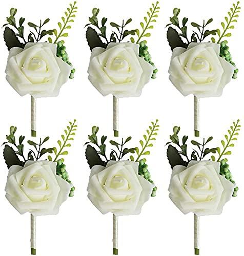 AOOF Broche de ramillete para novia de dama de honor, ramillete de ramillete de ojal para boda, flores de fiesta, decoración de corsageAOOF (6 unidades), color blanco