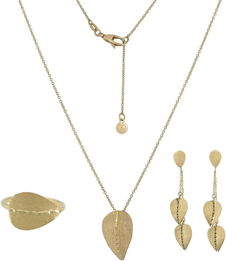 Gioiello italiano - parure con foglie in oro giallo 14kt, collana, orecchini, anello, da donna fog-par-gia B08HJDB1M7