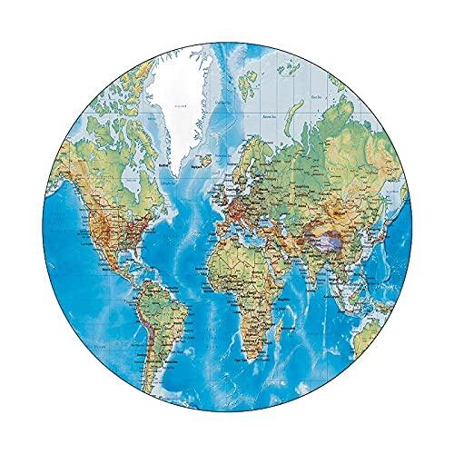 ruijiu Tapis Rond Tapis imprimé numérique Carte Mondiale modèle Tapis intéressant respectueux de l