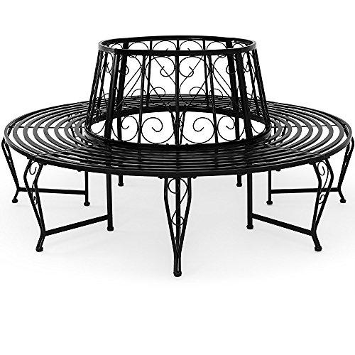 Baumbank 360° Metall, Ø 160cm, pulverbeschichtet, geschwungene Beine Gartenbank Rundbank - 5