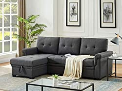 The Lucca Linen Sectional Sofa is an L shaped tiny house couch.