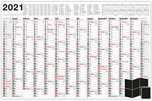 Kalender 2021 Wandkalender Plakatkalender groß - XXL Wandplaner 102 cm x 68 cm größer als A1   Jahresplaner wird gefalzt geliefert   Wand Urlaubsplaner mit Vorschau für 2022 - by DDS (gefalzt)