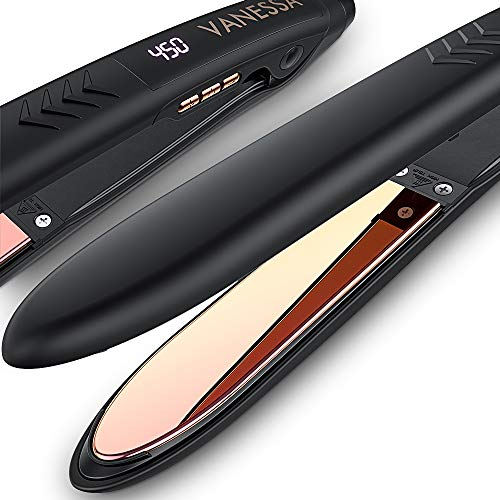 VANESSA Flat Iron Hair Straightener and Curler, Titanium Hair Straightener Flat Iron, Titanium Flat Iron Dual Voltage, Mothers Day Gifts, Birthday Gifts for Women