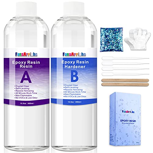 FansArriche 30oz Epoxy Resin Crystal Clear for Jewelry Making, Art & Crafts, Non-Toxic Resin 2 Part Casting Resin Bonus with 4 Droppers, 2 Sticks,2 Pair Gloves and 1 Pack of Resin Glitter
