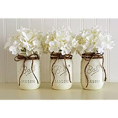 Mason jar set - 3 Piece, White, Wedding Centerpiece