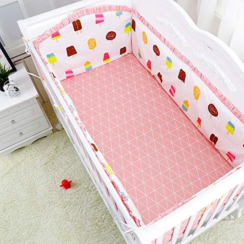 Protector De Cuna, Parachoques, Protector Cuna Para Proteger Bebe Y Decorar La Cuna, Algodón 100%. (rosado,120 * 60cm)