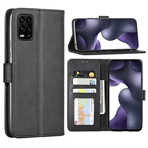 Foluu Schutzhülle für Xiaomi Mi 10 Lite 5G, Klappetui, Leder, mit Kartenschlitz, Magnetverschluss, TPU, für Xiaomi Mi 10 Lite 5G (Schwarz)