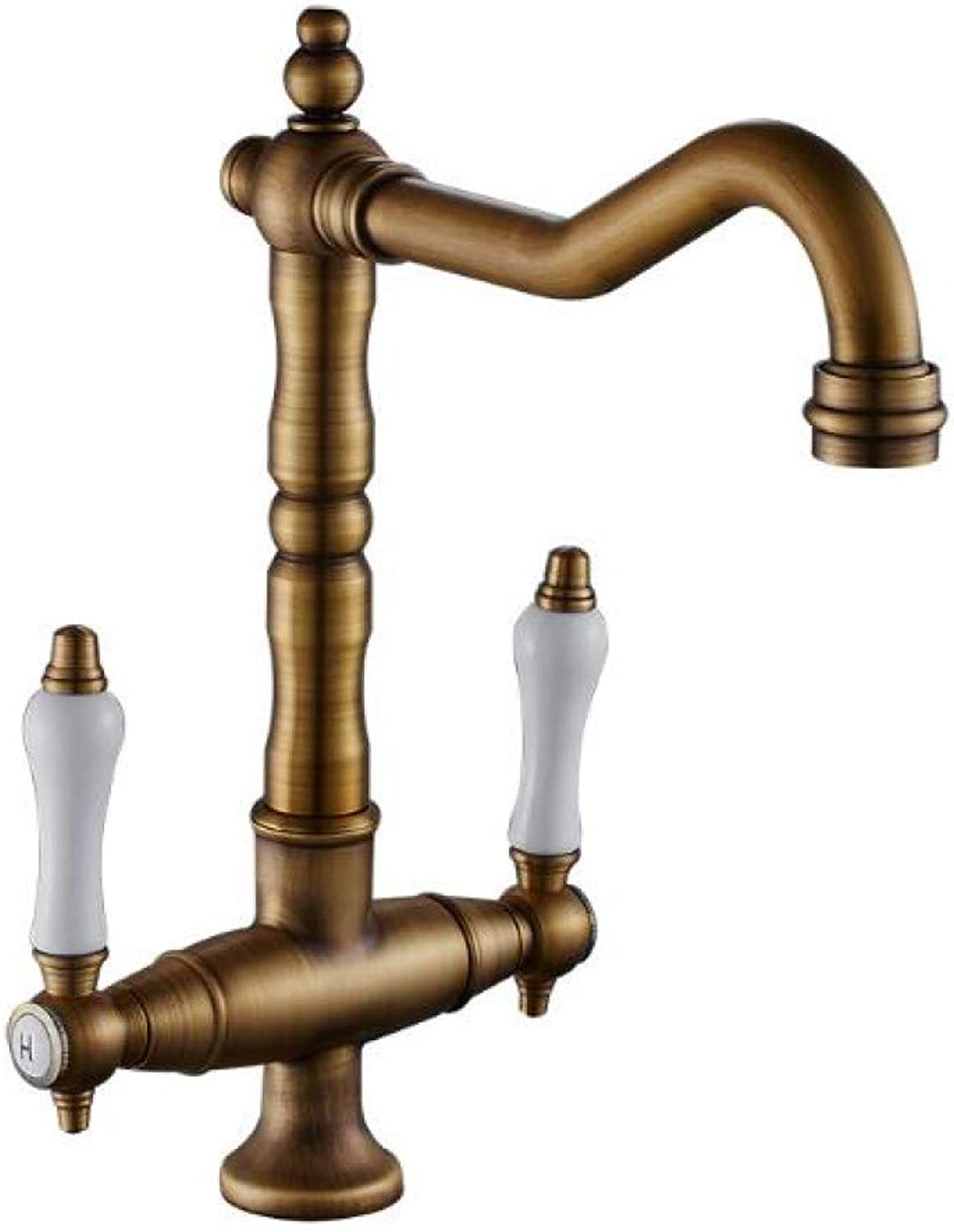 YHSGY Kitchen Taps 360 Degree Swivel Solid Brass Antique Bathroom Mixer Cold and Hot Kitchen Tap Single Hole Water Tap Kitchen Faucet