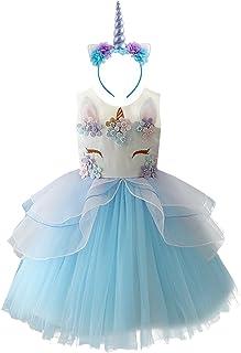 FYMNSI Baby Girls Toddler Unicorn Dress Sleeveless Princess Tulle Dress Wedding Birthday Party Gown Performance Costume 1-...