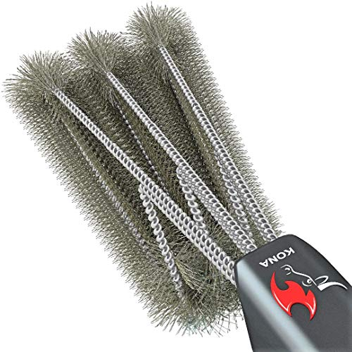360 Clean Grill Brush, Kona 18 inch Best BBQ Grill Brush - Stainless Steel 3-in-1 Grill Cleaner for Effortless Cleaning