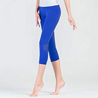 HXLG Sports Leggings for Women Mesh Capri Trousers Yoga Pants Tights,Tummy Control Workout Pants (Color : Blue, Size : L)