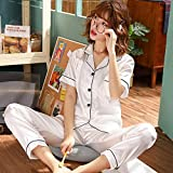 Handaxian Kurzärmelige Seidenpyjamas Sommerpyjamas für Damen Set Seidenpyjamas Pyjama Größe 3 XL