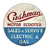 Brotherhood Cushman Motor Scooter Sales Service Electric Gas Classic Emblem Seal Reproduction Car Company Vintage Style Signs Round MDF Wood Pressed Sign Garage Home Decor