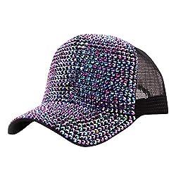 Purple Rhinestone Mesh Breathable Adjustable Sun Hat