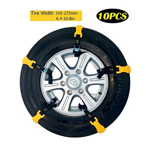 HECHEN Universal Schneeketten, LKW mit 165-275mm Reifen Breite/SUV, Anfahrhilfe Anti Skid Nail Auto Snow Tire Ketten für Auto(10er Set Snow Chains)
