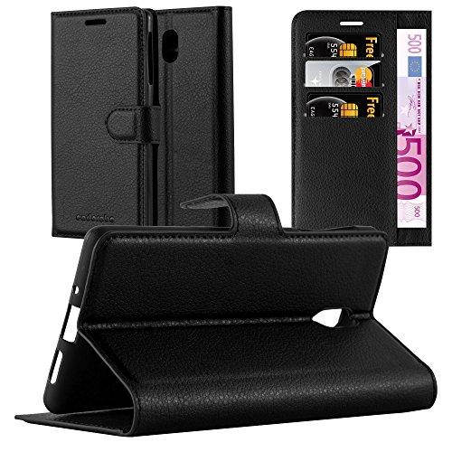 Cadorabo Hülle für Nokia 3-2017 - Hülle in Phantom SCHWARZ – Handyhülle mit Kartenfach & Standfunktion - Case Cover Schutzhülle Etui Tasche Book Klapp Style