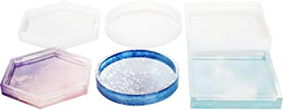 3 Pack DIY Coaster Silicone Mold, Include Round, Square, Hexagon, Molds for Casting with Resin, Cement