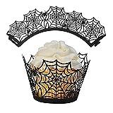 GDYJP 50 unids Halloween Spiderweb Cupcake, envoltorios Negros Corte láser Cupcake Liners Decoración de Pastel para el Tema de Halloween Decoraciones de Fiesta