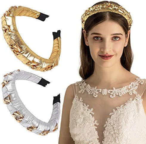 2PCS Fashion Women Headbands Gold Metal Chain Headbands Padded Sponge Hair Hoops 3CM Wide Chained product image