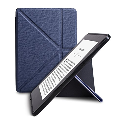 WALNEW New Origami Case Cover for Amazon Kindle Voyage (November 2014) - PU Leather Vertical Stand Case with Safe Magnetic Closure and Auto Sleep/Wake Function, Dark Blue