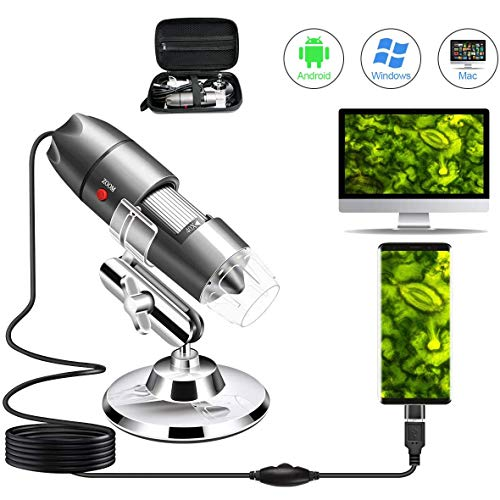 Microscope USB Camera 40X to 1000X, Cainda Digital with Metal Stand & Carrying Case Compatible with Android Windows 7 8 10 Linux Mac