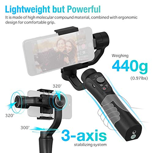 3-Axis Gimbal Stabilizer for Smartphone, Powered by ZHIYUN-Gimbal for iPhone-Android Video Recording with Dolly Zoom, Timelapse, Panorama, CINEPEER C11
